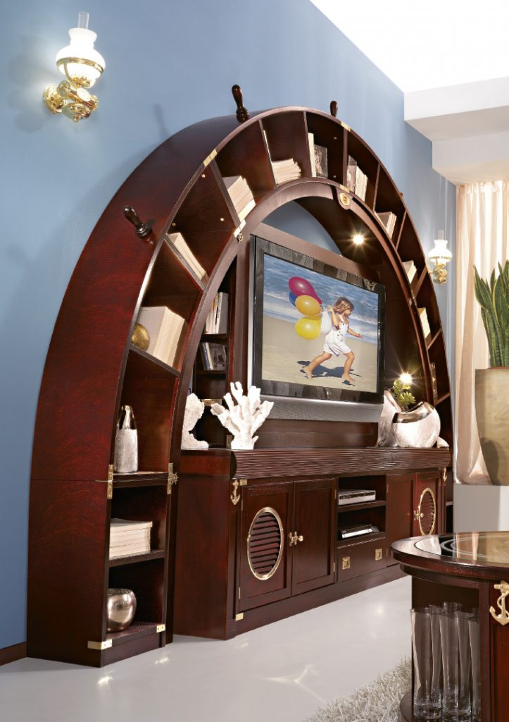 arched bookcase living